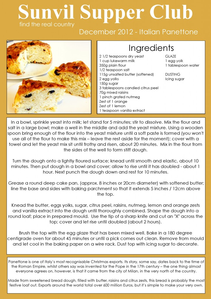 Sunvil Supper Club December Recipe Card