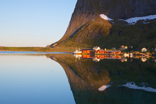 Norway - Lofoten Islands - Picturesque town of Reine by the fjord