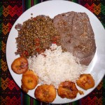 April's Sunvil Supper Club: Lentil stew with rice, beef & plantain