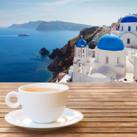 Coffee with a view in Greece