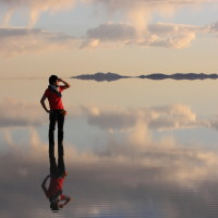 Mirror image on Salar de Uyuni